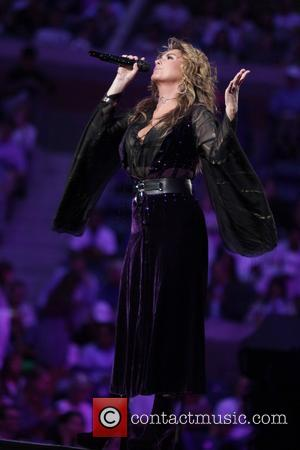 Shania Twain performs during the opening ceremony on Day One during the 2017 US Open held at the USTA Billie...