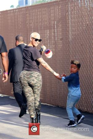 Amber Rose and her son watch 21 Savage performing on 'Jimmy Kimmel Live!' at the El Capitan Entertainment Centre -...