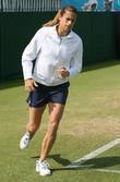 Amelie Mauresmo (FRA)  warms up before her...