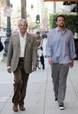 George Hamilton and his son George Thomas Hamilton walking in Beverly Hills