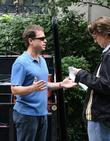 Greg Kinnear, director David Koepp filming on the movie set of 'Ghost Town'