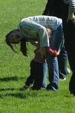 Jennifer Garner, daughter Violet Anne play on the swings, have a game of football when they visited the playground on the Great Lawn in Central Park, Central Park