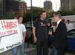 Kevin Bacon and Protestors