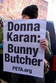 Peta Protestors Stand Outside The Dkny Fashion Show At 711 Greenwich Street