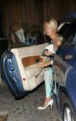Paris Hilton leaving home for dinner at Mr...