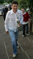 Golfer Pauraig Harrington arrives back at Stackstown Golf...
