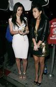 Kim Kardashian and Kourtney Kardashian arriving at a Pre Grammy party at Contact