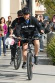 Russell Crowe rides his bike around Beverly Hills...