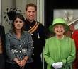 (L-R) Princess Eugenie, Prince William and Queen Elizabeth...
