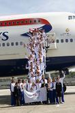 Great Britain's rowing team depart for the 2008 Olympic Games in Beijing at Heathrow airport