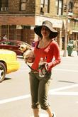 Carla Gugino out walking with her dog around...