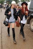 Alexa Chung and Pixie Geldof Backstage at Glastonbury...