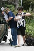 Jack Black and his wife Tanya Hayden with their new baby boy Thomas at a park in Beverly Hills