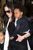 Maddox Jolie-Pitt, Angelina Jolie and Zahara Jolie-Pitt leaving...