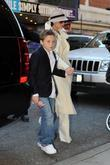 son Brooklyn Beckham arrive at the August Wilson Theatre to see 'Jersey Boys'