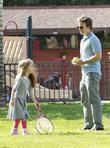 Breckin Meyer and His Daughter Caitlin Willow Meyer Enjoy A Day Out At Beverly Hills Park.