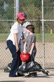 Calista Flockhart, her son, Liam, leaving a Brentwood park after a game