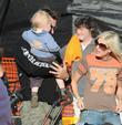 Tori Spelling and Dean McDermott with their son Liam at Pumpkin Patch in West Hollywood.