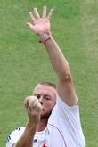 Andrew Flintoff during the net practice at Green...