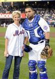 Edie Falco and Mets catcher Ramon Castro, who...