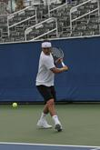 Gavin Rosedale Warms Up Before The Start Of The Chris Evert-raymond James Pro-celebrity Tennis Classic