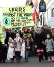 Hundreds Of People Protest Against The Violence In Gaza Around Leeds Town Centre Where They Hurled Abuse At Stores Around The Town Including Marks