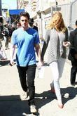 Blake Lively and Penn Badgley on the set of 'Gossip Girl' filming on location in Manhattan