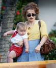 Helena Bonham Carter seen with her young daughter...