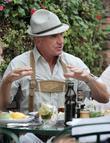 Prince Frederic Von Anhalt Has Lunch At The Ivy Wearing German Lederhosen