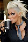 Glamour model Jodie Marsh visits Strabucks to launch the 'Bring Your Own Mug' campaign