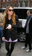Lindsay Lohan and Samantha Ronson arrive at a hotel for a Bar Mitzvah party