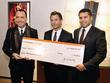 David Furnish, Michael King and Karim Karsan A...