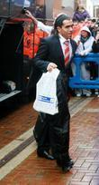 Manchester United player, Carlos Tevez arrives at Ewood...