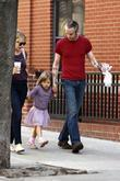 Michelle Williams, Matilda Ledger out, about in Brooklyn enjoying the warm. Matilda gets a lift from her mom and an older mystery male.