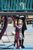 Michelle Williams and daughter Matilda Ledger enjoying a sunny day playing at a Brooklyn park