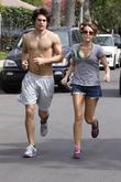 Miley Cyrus and Justin Gaston out running at Toluca Lake in the San Fernando Valley