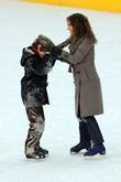 Natalie Portman, Charlie Tahan on the set for 'Love, Other Impossible Pursuits' filming at the Wolman rink in Central Park, Central Park