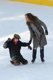Natalie Portman, Charlie Tahan on the set for 'Love and Other Impossible Pursuits' filming at the Wolman rink in Central Park