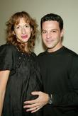 Alysia Reiner and husband David Alan Basche backstage...