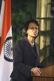 U.s. Secretary Of State Condoleezza Rice Speaks At A Press Conference In New Delhi About International Cooperation In The Investigation Into The Mumbai Attacks