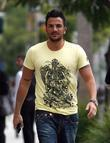 Peter Andre leaving his hotel with his brother....