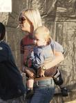 Tori Spelling and son Liam at Mr. Bones...