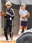 Reese Witherspoon playing softball with friends Los Angeles,...