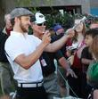 Justin Timberlake signs autographs for fans, at the...
