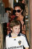 Victoria Beckham, her son Cruz and Brooklyn leaving his 4rd Birthday party in North Hollywood at XMA Martial Arts place.