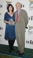 Patrick Stewart and the winner of the Panalux Craft Award Sue Rowe