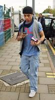 Aston of JLS arriving at rehearsals for the...