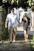 Anna Faris, Husband Chris Pratt Leaving The Cat and Fiddle In Hollywood After Eating Lunch.