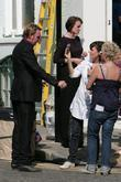 Philip Glenister and Keeley Hawes on the set...