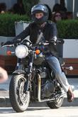 Breckin Meyer Arrives At Sunset Plaza On His Motorbike